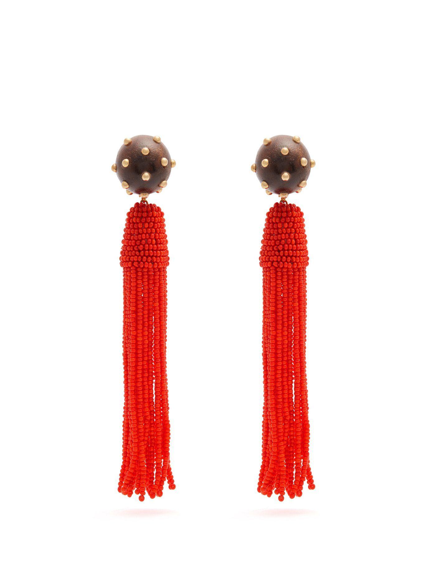 Vanda Jacintho Embellished tassel-drop clip-on earrings nwADAg