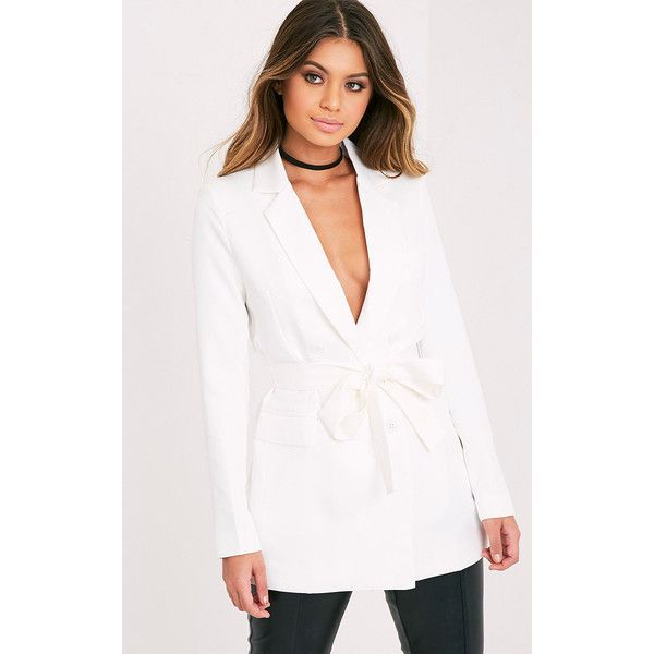 Rebecca Cream Belted Blazer ($45) ❤ liked on Polyvore featuring outerwear, jackets, blazers, white, belted jacket, white double breasted blazer, white jacket, blazer jacket and creme blazer