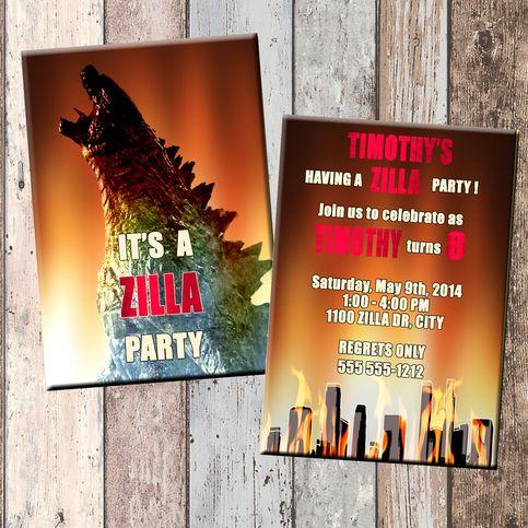 Zilla Personalized Birthday Invitation 2 Sided Card Party Godzilla SCG Designs
