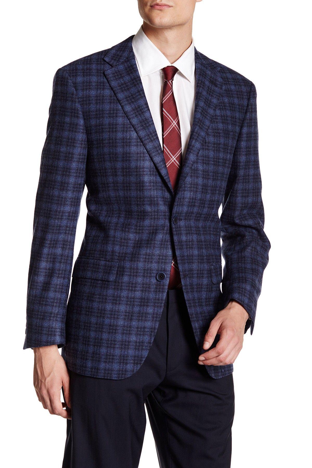 Blue & Grey Plaid Double Button Notched Lapel Jacket