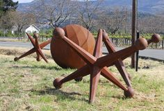 Ball And Jacks Iron Sculpture in the Napa Valley- Big Ranch Road and Oak Knoll Avenue