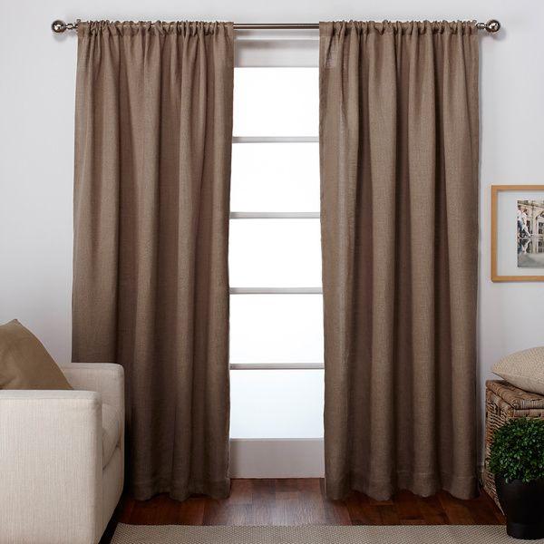 Ati Home Burlap Jute Rod Pocket Top Curtain Panel Pair Home