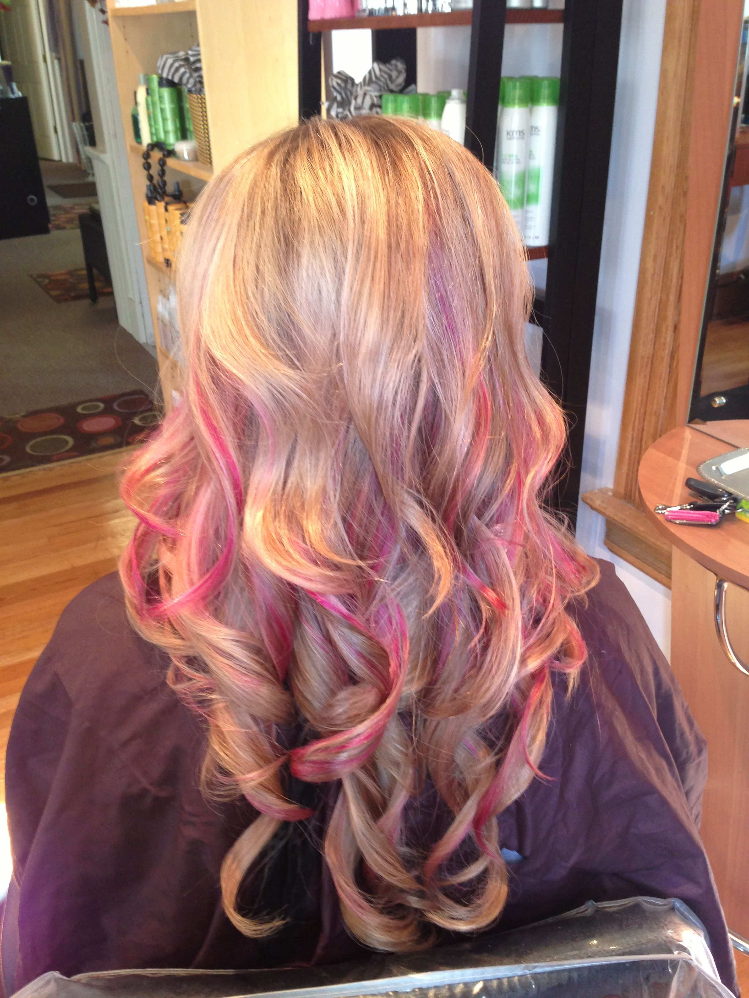 Blonde hair pink highlights beauty pinterest pink highlights