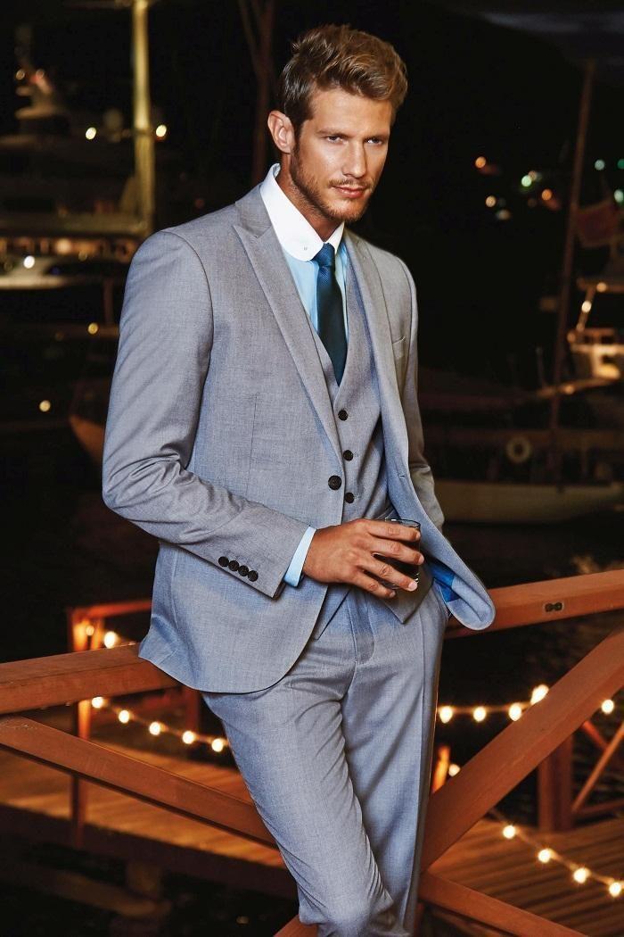 Click to Buy << Custom Made Groom Wear Tuxedos Light Grey Groomsmen ...