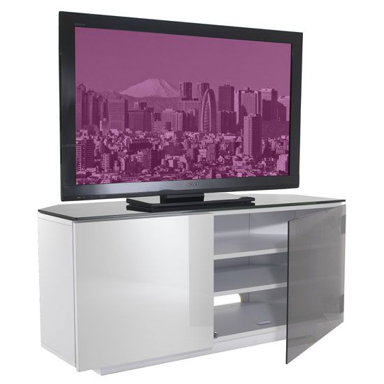Tokyo High Gloss Black And White 2 Door Corner TV Cabinet
