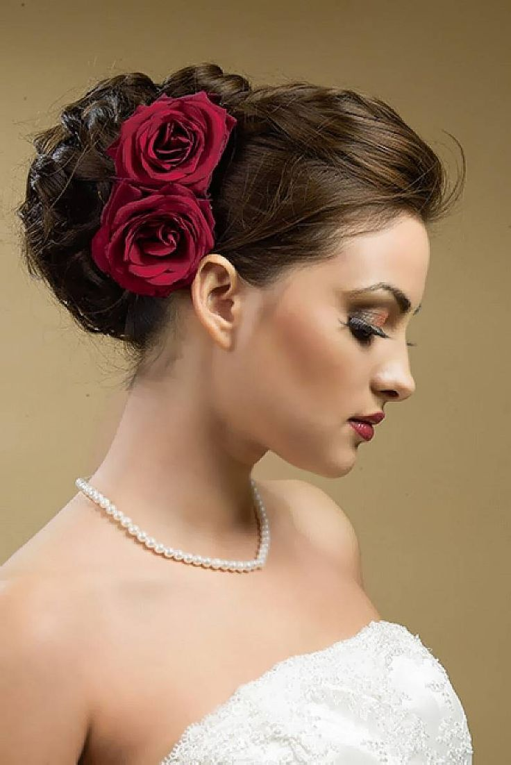 glam hairstyles for the bride | red roses, hair style and flower