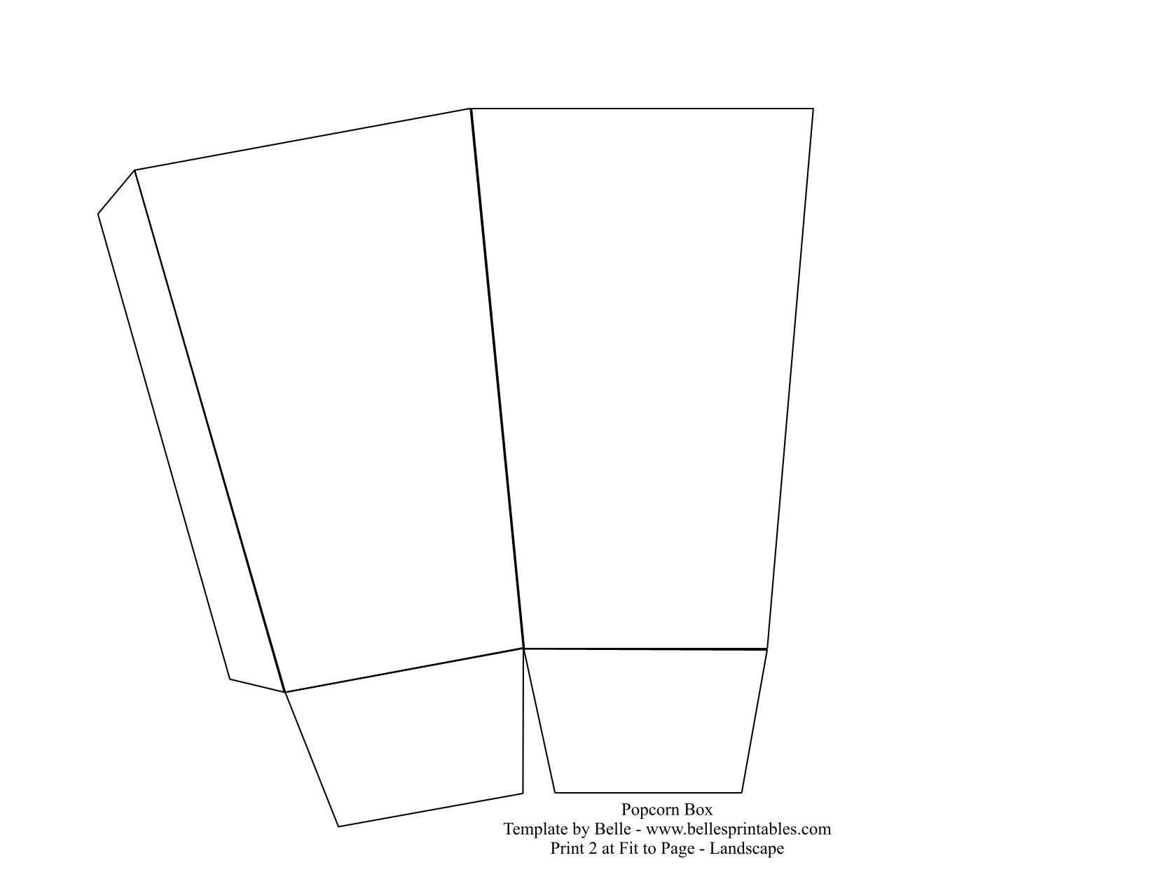 Popcorn box template bellesprintables diy printable for Popcorn container template