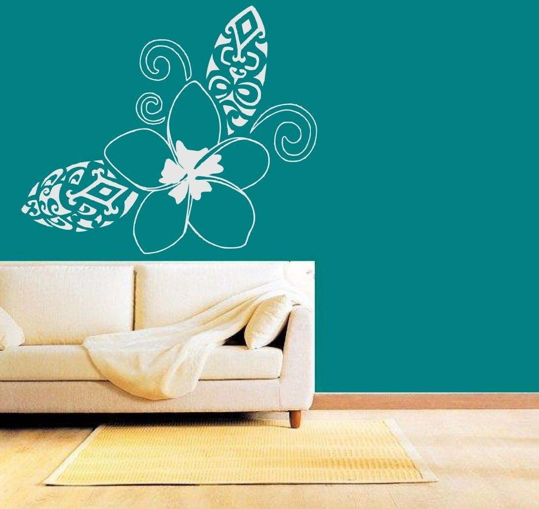 Hawaiia plumeria flower with unique tribal leafs vinyl wall art hawaiia plumeria flower with unique tribal leafs vinyl wall art decals graphic sticker by amipublicfo Images