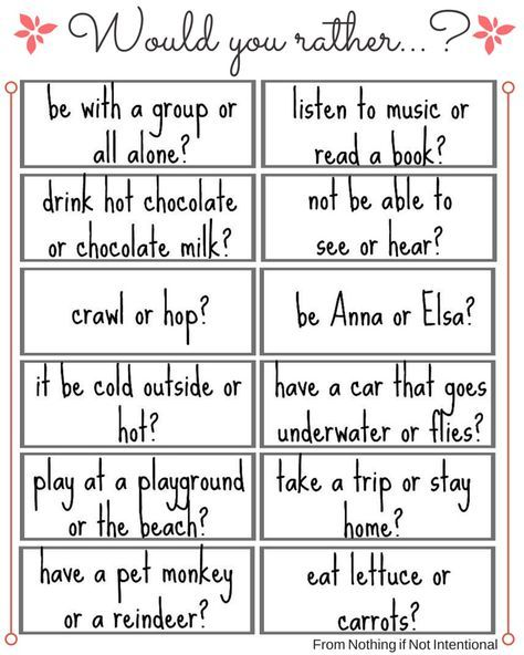 """This Or That Questions Things To Do: Free Printable! 24 Fun """"Would You Rather"""" Questions! (with"""