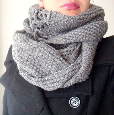 Circle Scarf Knitting Pattern With Crochet Flowers 16 Style