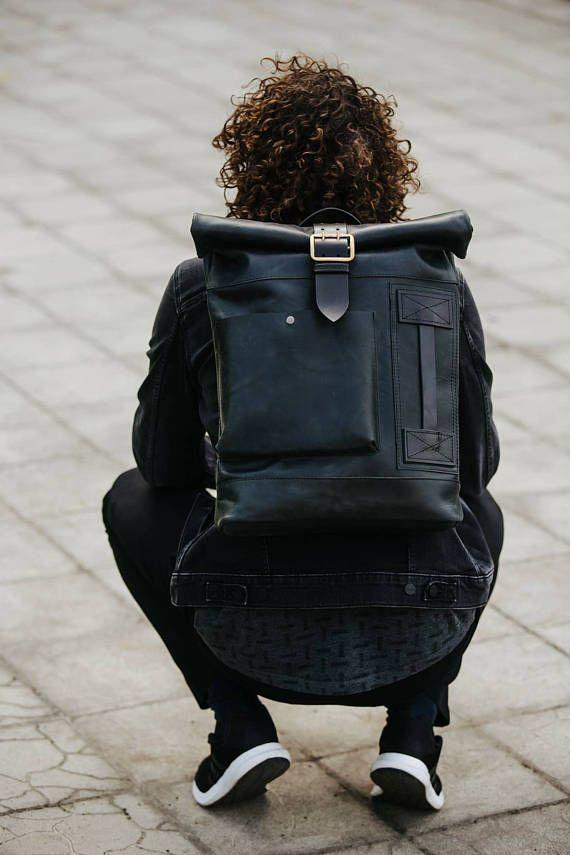 9d4eb511fa01 Roll top backpack by Kruk Garage Laptop backpack Leather backpack Large  backpack Mens backpack Laptop Rucksack