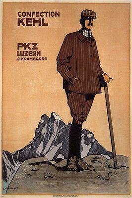 confection kehl_PKZ EMIL CARDINEAU poster switzerland 1908 24X36 hot NEW