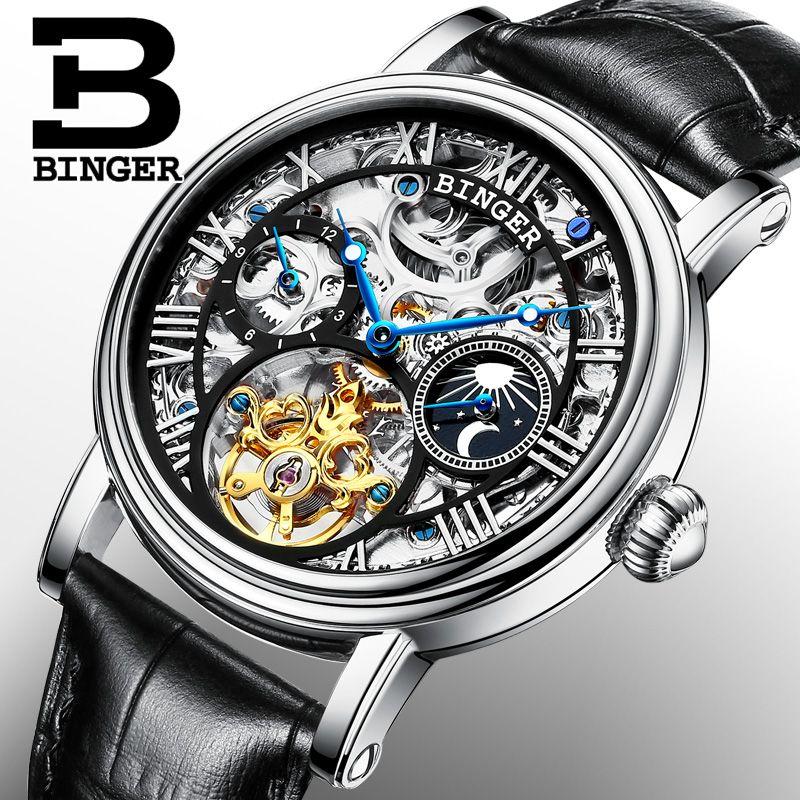 2bb047ddf30 Switzerland BINGER watches men luxury brand Tourbillon Relogio Masculino water  resistant Mechanical Wristwatches B-1171-3
