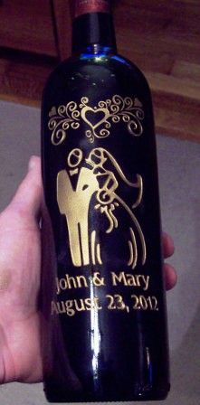 Great gift idea of etching designs into wine bottles for weddings ...