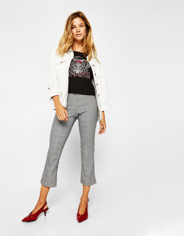 55158a1fa584 Cropped combined trousers - Trousers - Bershka Lebanon