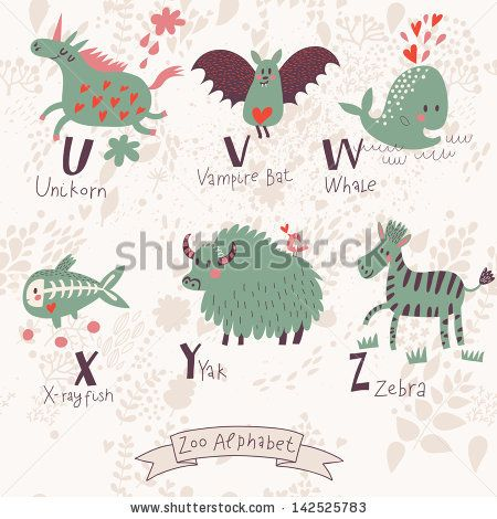 Cute Zoo Alphabet In Vector U V W X Y Z Letters Funny Animals In Love Unicorn Vampire Bat Whale X R Funny Animals Cute Cartoon Animals Monkeys Funny