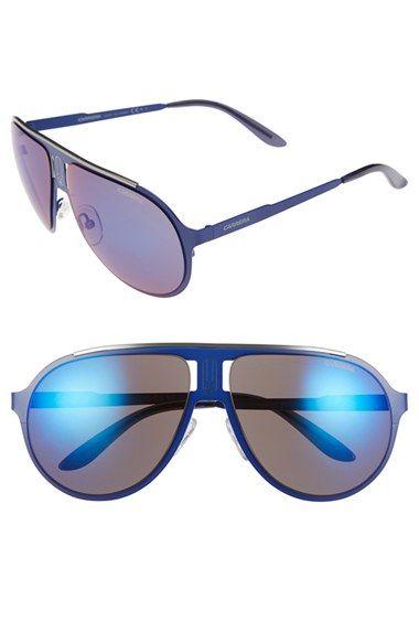 Men's Carrera Eyewear 61mm Aviator Sunglasses - Matte Blue/ Blue Sky Mirror