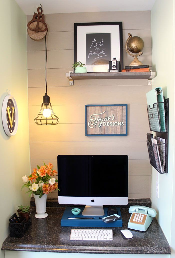 Small Home Office Makeover, Walls Planked With Plywood From Home Depot  Painted With Desert Dune PPG Voice Of Color
