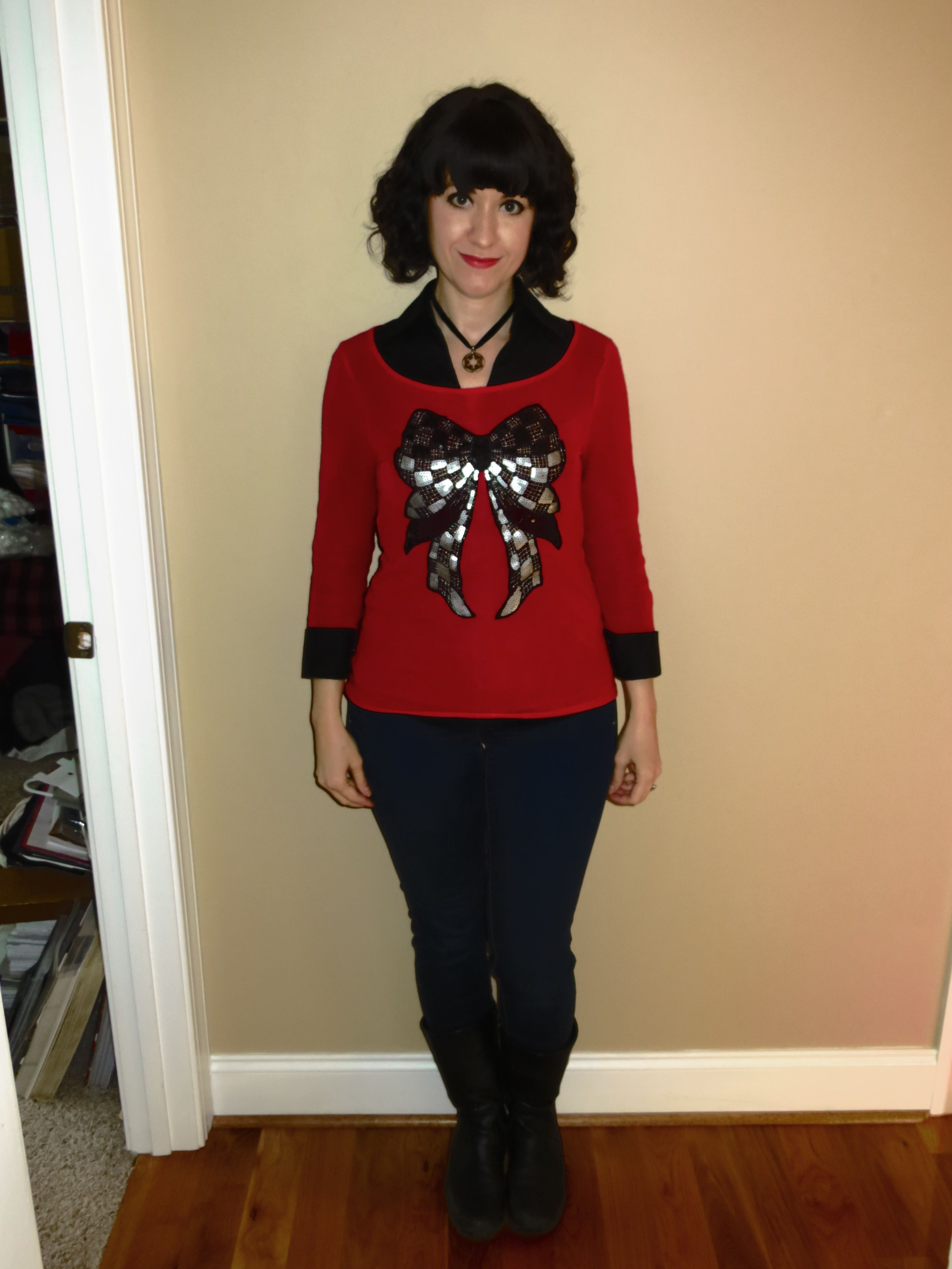 A Not Ugly Christmas Sweater Black Collared Shirt With A Red