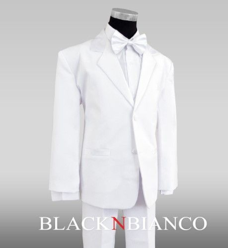 Black n Bianco White Tuxedo with Bow Tie for Boys of All Ages.