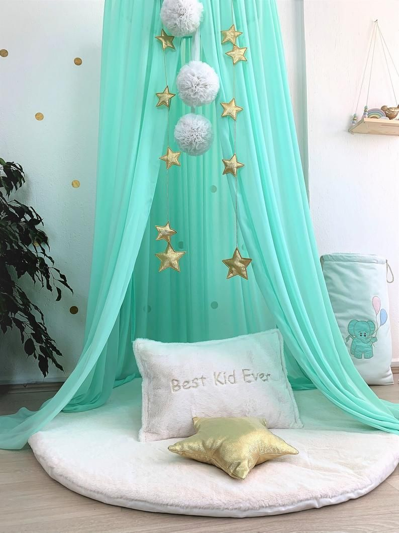 chiffon bed canopy on bed canopy chiffon baldachin mint canopy kids ceiling etsy in 2021 kids canopy hanging tent kids bedrooms colors pinterest
