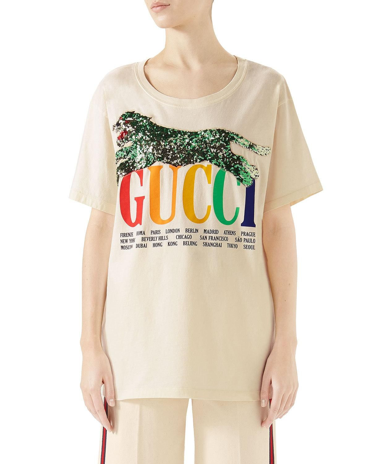 6eb87660ab01 Gucci Cities Crewneck Short-Sleeve Cotton T-Shirt with Sequined Panther  Detail