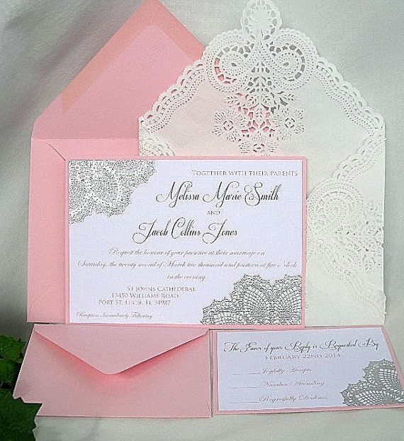 Blush Silver Invitations Pink N Metallic Raised Embossed Doily Wedding Invitation
