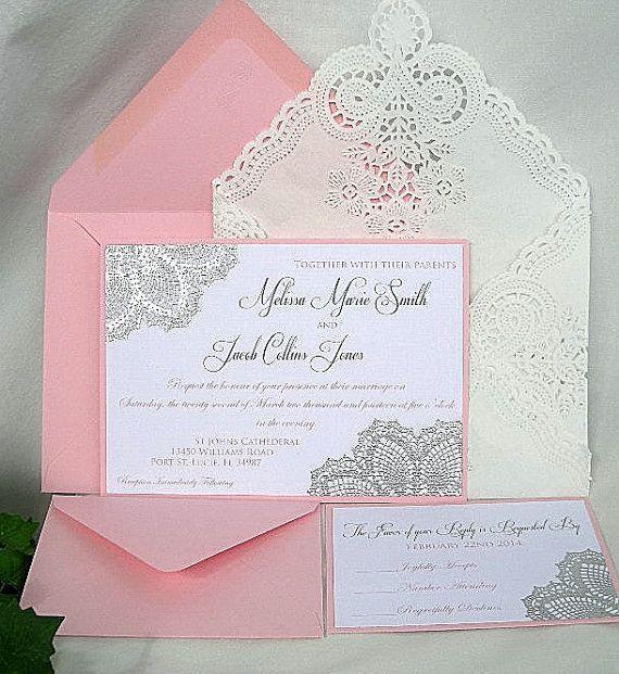 Blush Silver Invitations Pink N Metallic Raised Embossed Doily Wedding Invitation