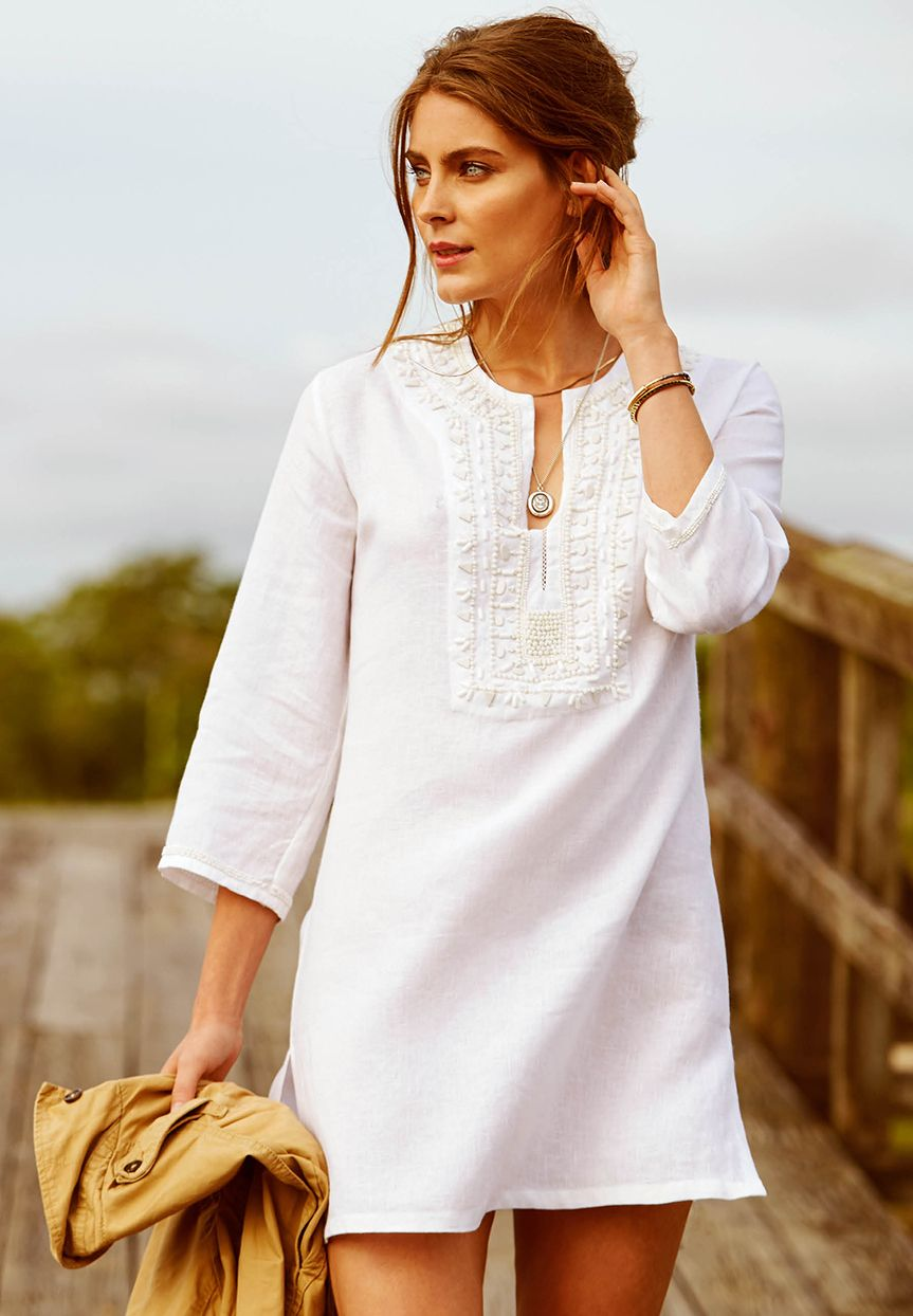 ad3c94133c Step into the sun in our Roberta Roller Rabbit Egyptian linen tunic. This  style has gorgeous white beading around the neck yoke