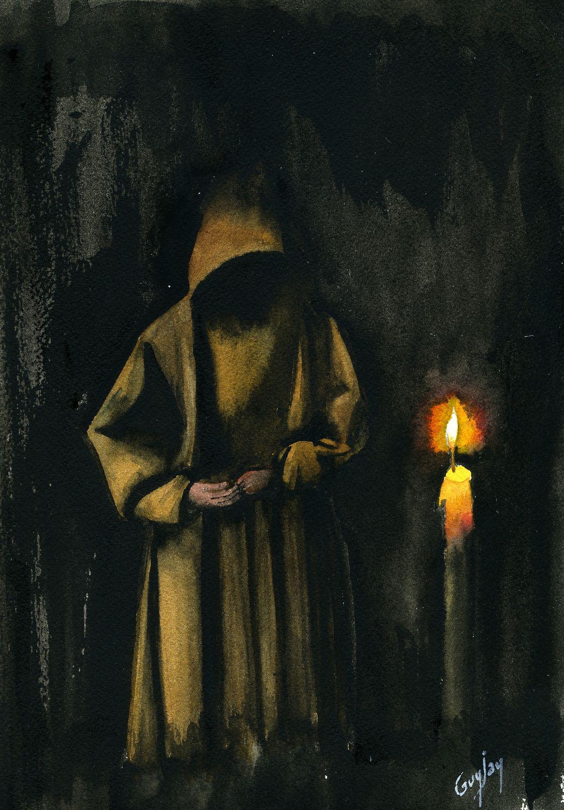 """Quote Des Artistes Peintres le moine"""" --- peintures, aquarelles --- auteur: guy jay"""