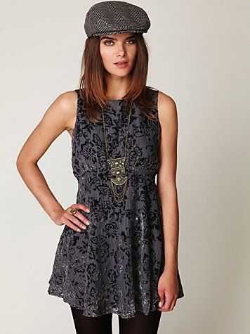 Free People Dancing Pretty Velvet Dress at Free People Clothing Boutique - StyleSays