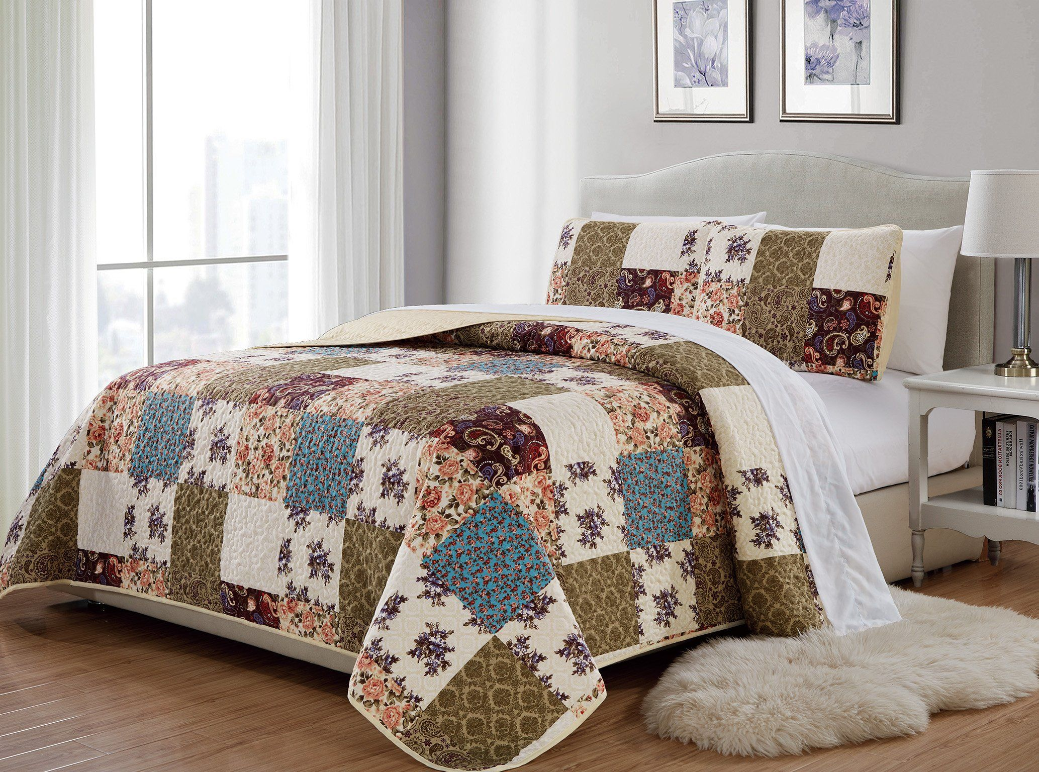 Mk 3pc King California King Home Bedspread Quilted Print Floral Beige Burgundy Purple Blue Taupe Over Size New Bed Spreads Queen Bedspread Quilt Sets Bedding California king quilts and coverlets