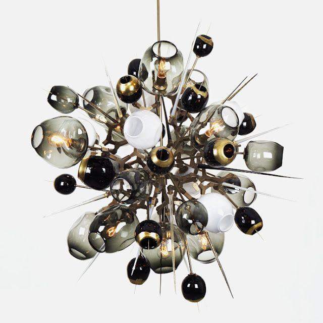 Part chandlier, part artwork, part explosion! Pendant light by  Lindsey Edelmann via Studio uwe gaertner