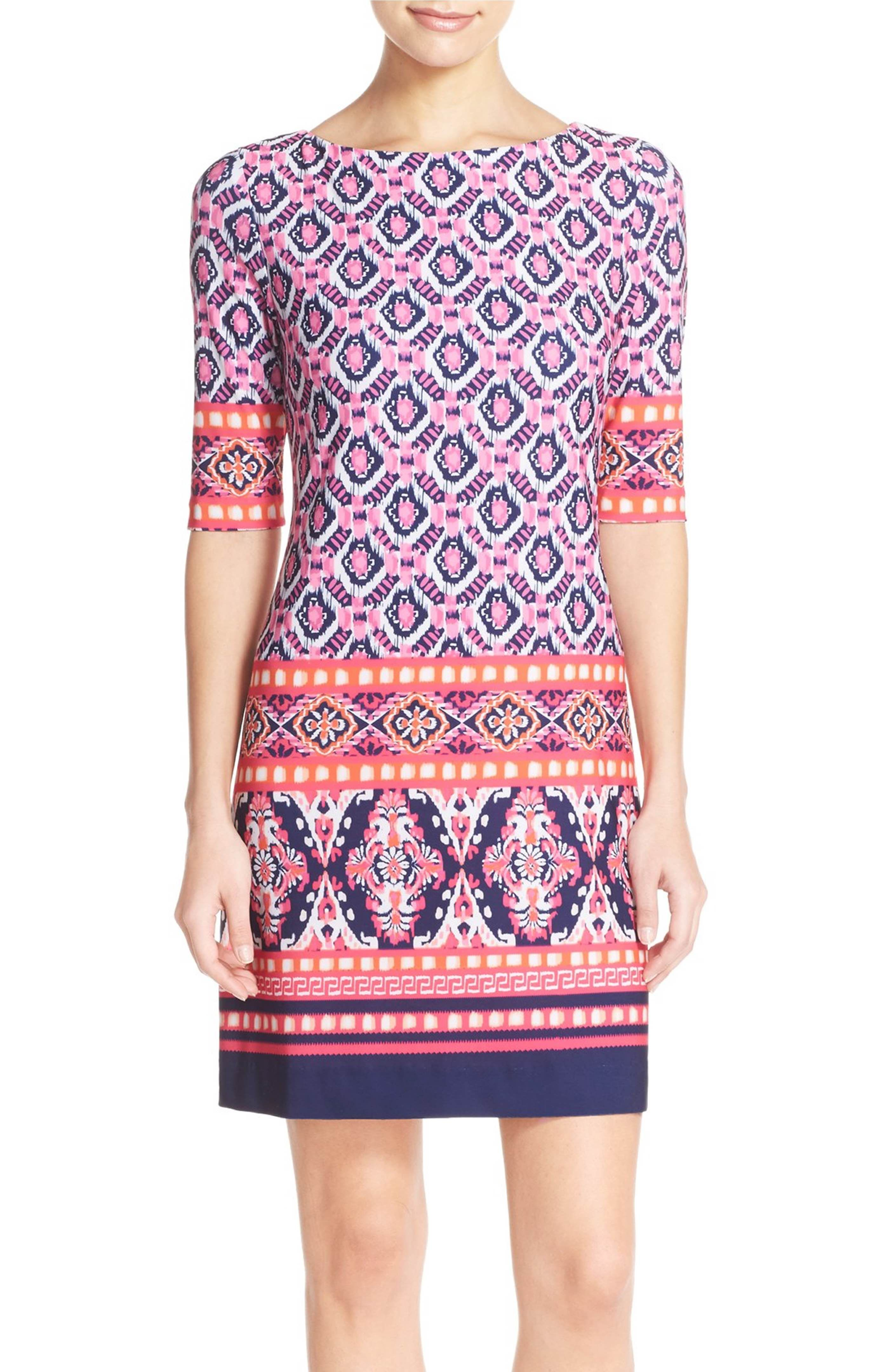 e96b3a2f358 Main Image - Eliza J Print Jersey Shift Dress (Regular & Petite ...