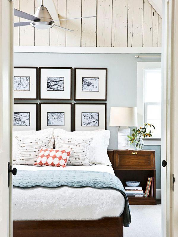 AuBergewohnlich Blaue Farbpalette Bett Schlafzimmer Bilder Nachttisch Idee