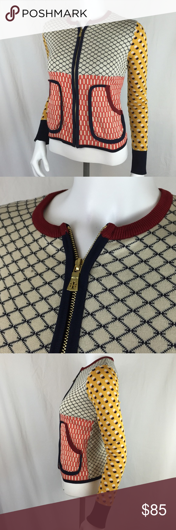 """Tory Burch Patterned Golden Zip Up Cardigan Jacket Amazing and unique Tory Burch Patterned Golden Zip Up Cardigan Jacket. Varied patterns throughout this awesome piece. Cute outlined pockets on the front and gold Tory Burch signature zipper. Size extra small in great condition. No damage or wear. Small mark on the back (hard to see, but picture above). This top is a beauty! 20.5"""" long and 15"""" across the chest Tory Burch Sweaters Cardigans"""
