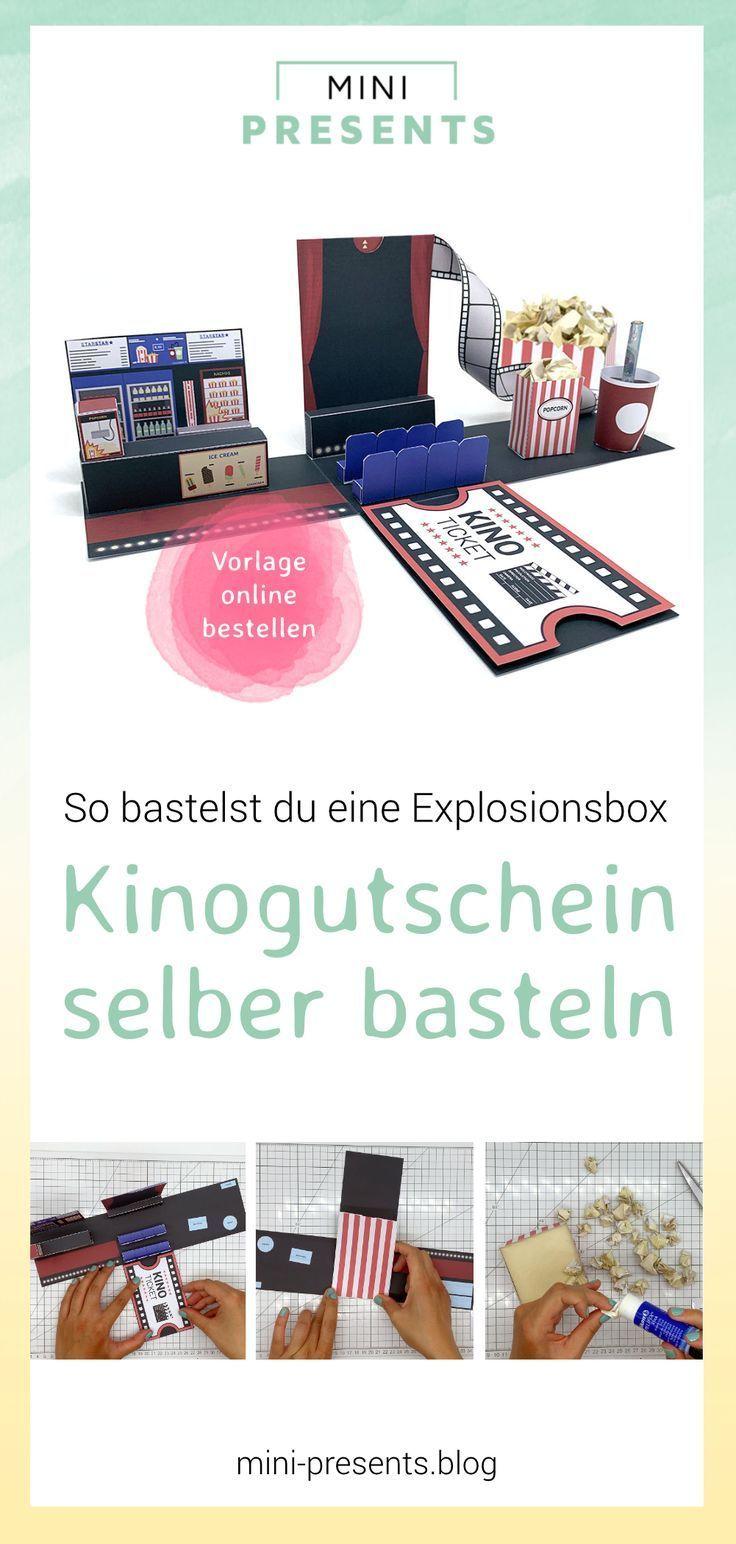 Kinogutschein als Explosionsbox basteln #kinogutscheinbasteln DIY Gutschein für Kino Tickets basteln – Du suchst Geschenke für Männer, für die beste Freundin, zum Muttertag oder zum Valentinstag? Mit meiner digitalen Bastelvorlage kannst du dir eine Kino Geschenkbox ganz einfach zuhause ausdrucken und selber basteln. #kino #kinogutschein #explosionsbox #geschenke #gutschein #geldgeschenke #valentinstag #weihnachtsgeschenk #muttertag #kinogutscheinbasteln