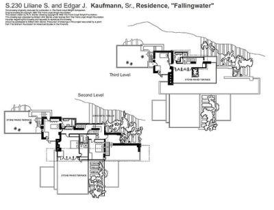 la maison sur la cascade, plan 2 - Frank Lloyd Wright MAISON - Logiciel Pour Dessiner Plan Maison Gratuit
