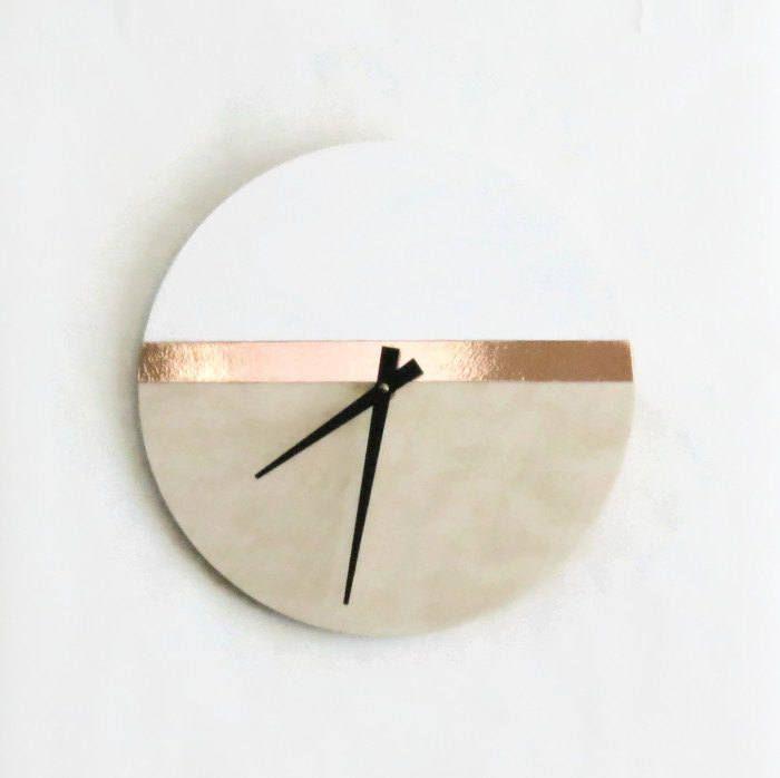 Large Wall Clock White Copper Wood Clock Housewares Home