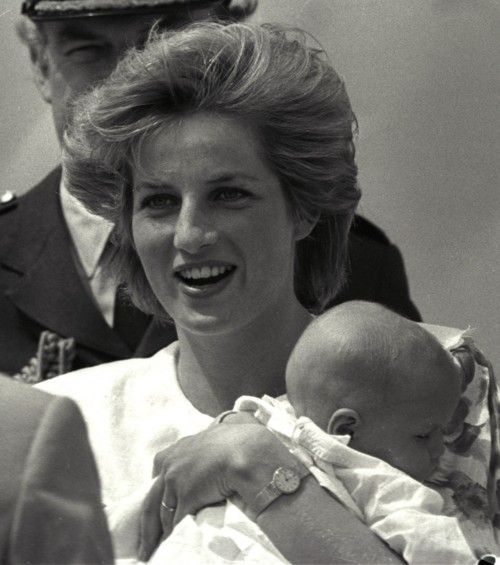 A really cute shot of Princess Diana with (probably) baby Prince William