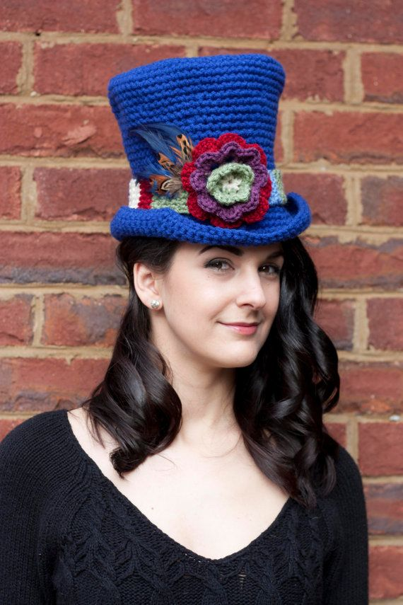 TARDIS-inspired crochet top hat, with Tom Baker style scarf hat band ...