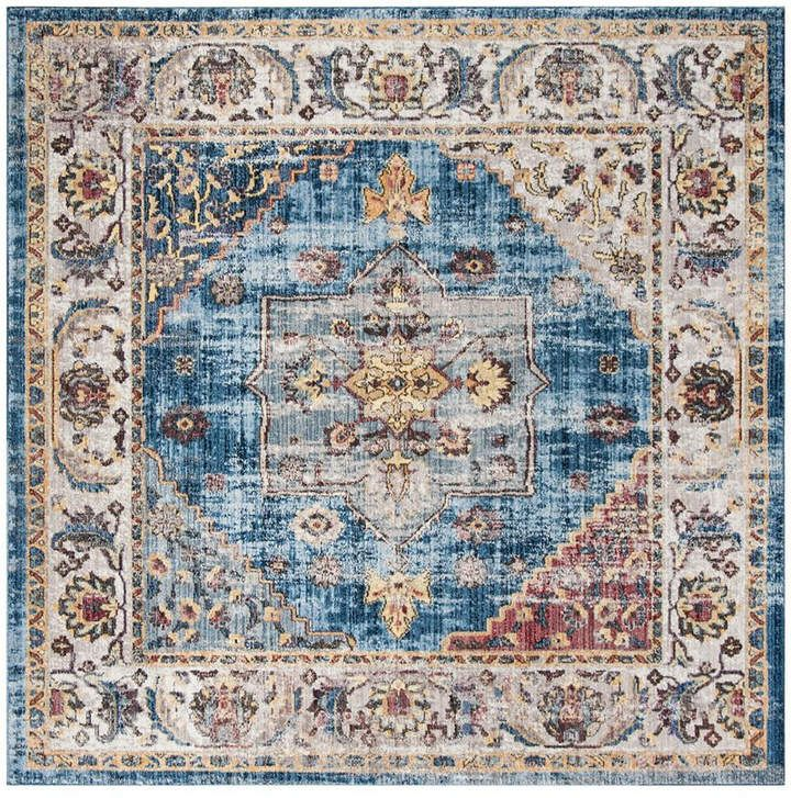 Safavieh Bristol Blue And Ivory 7 X 7 Square Area Rug Floral