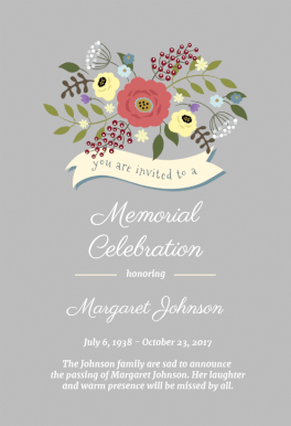 Flowers And Ribon Memorial Card Template Free Greetings Island Baby Shower Invitation Templates Invitations Baby Shower Invitations Diy