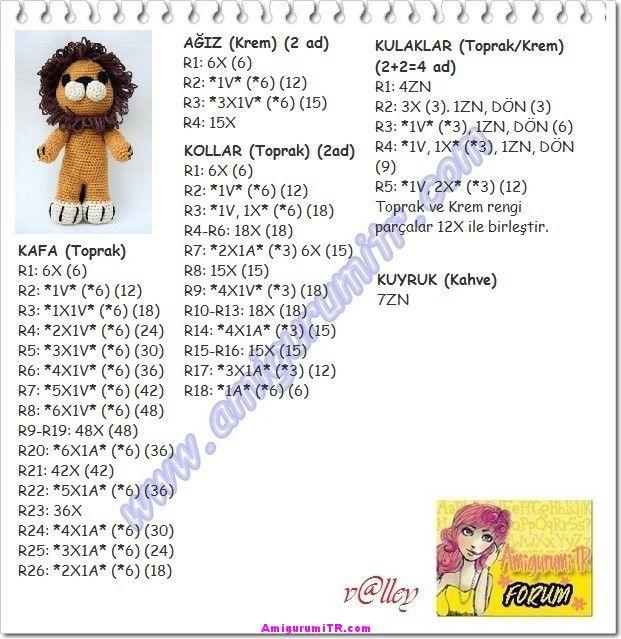 amigurumi aslan yapılışı PART 1 (AMİGURUMİ LİON) how to make lion ... | 639x621