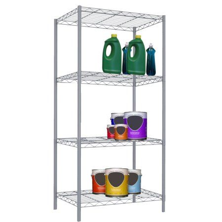 Home Basics 4-Tier Steel Wire Shelving 46.5 inch, Gray