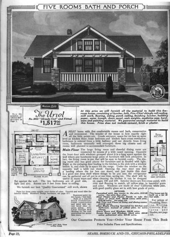 The Sears Uriel Vintage House Plans Bungalow Floor Plans House Plans With Pictures