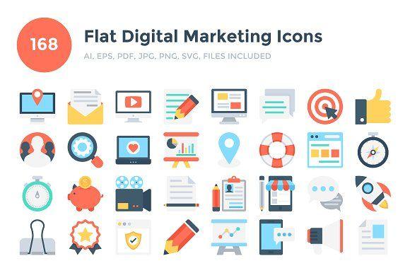 168 Flat Digital Marketing Icons Marketing Icon Digital Marketing Logo Design Creative