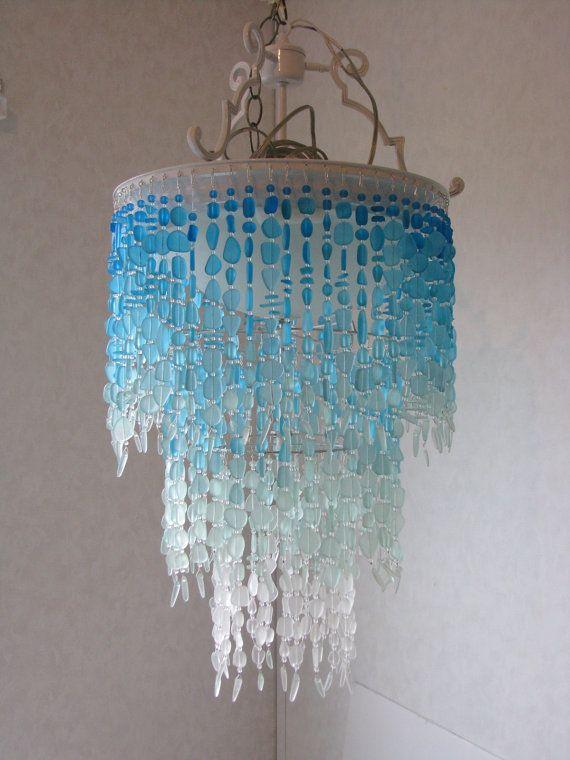 Sea Glass Chandelier Lighting Fixture Flush Mount Ceiling Fixture