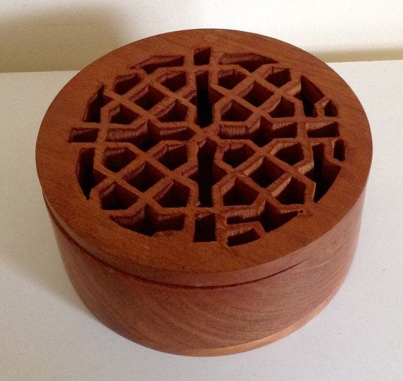 Unusual Round Vintage Box with Carved Pattern by VintageUKSouth
