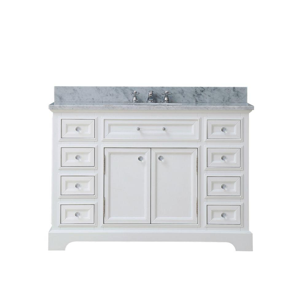 Water Creation 48 In W X 21 5 In D Vanity In White With Marble Vanity Top In Carrara White And Single Bathroom Vanity Bathroom Sink Vanity Marble Vanity Tops